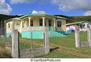 maison, barbud, gentil, antigua, typique