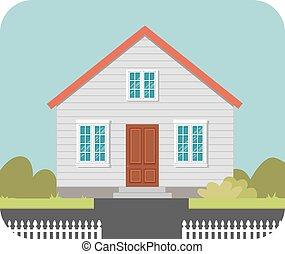maison, barrière blanche