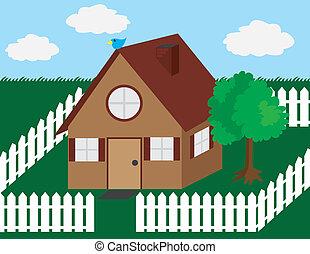maison, barrière piquet