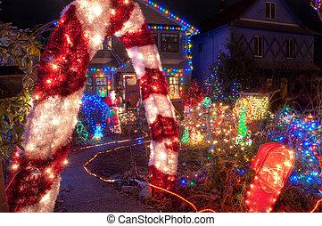 maison, beaucoup, noël, coloré, lumières