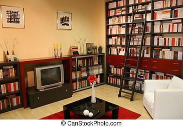 maison, bibliothèque, 2