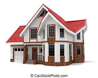 maison, blanc, arrière-plan., tridimensionnel, image.