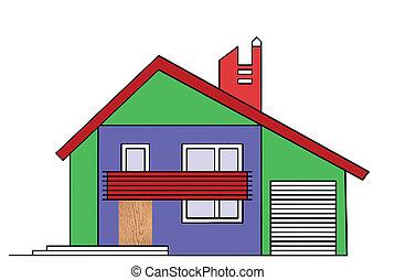 maison, blanc, dessin, fond