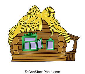 maison, blanc, dessin, fond, rural