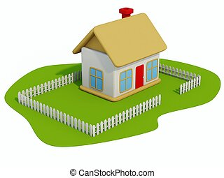 maison, blanc, jouet, herbe, isolé
