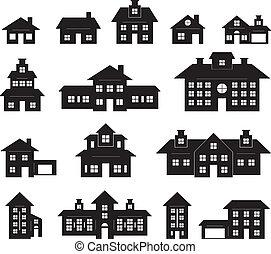 maison, blanc, noir