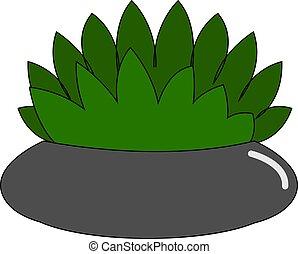 maison, blanc, pot, illustration, vecteur, fond, fleur