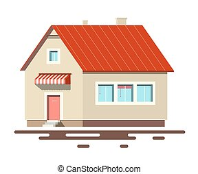 maison, blanc, vecteur, isolé, fond