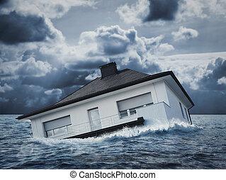 maison blanche, dans, eau, inondation