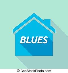 maison, bleus, ombre, long, texte