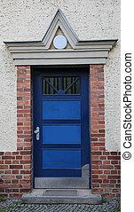 maison, blindé, porte, bleu