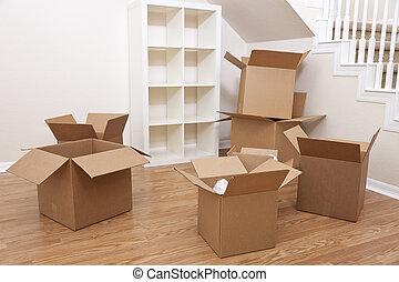 maison, boîtes, carton, en mouvement, salle