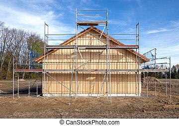 maison bois, échafaudage, nouveau