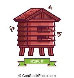 maison bois, abeille, icône