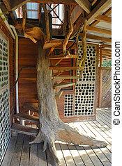 maison bois, arbre, escalier