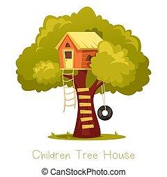 maison bois, arbre., gosse