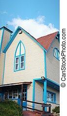 maison bois, architectural, vue extérieure