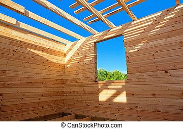 maison bois, construction, nouveau
