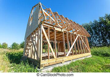 maison bois, construction, nouveau, village