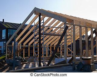 maison bois, construction, sous