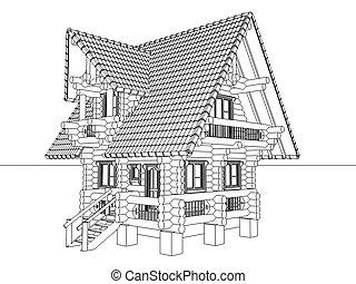 maison bois, dessin