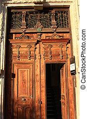 maison bois, entrée, porte, vieux