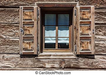 maison bois, fenêtre, détail
