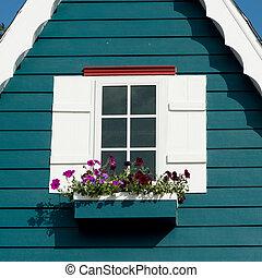 maison bois, fenêtre, vieux