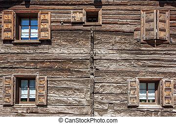 maison bois, fenêtre, volets