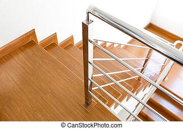 maison bois, intérieur, escalier, nouveau