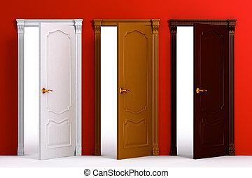 maison bois, intérieur, porte, détail