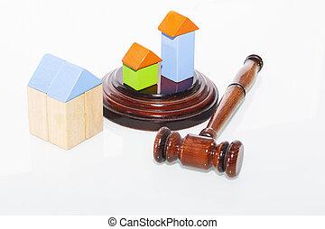 maison bois, juge, table., marteau