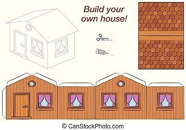 maison bois, modèle, papier, gabarit