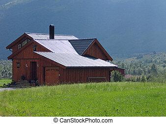 maison, bois, moderne