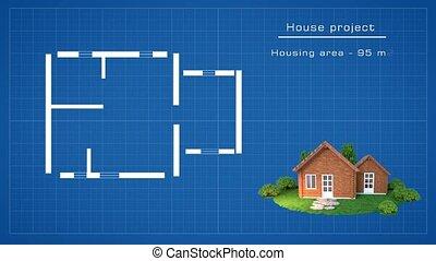 maison bois, plan, 3d