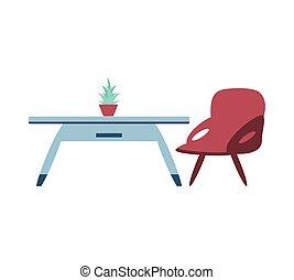 maison bois, plante, chaise, table