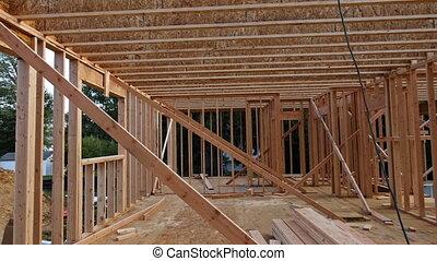 maison, bois, résidentiel, intérieur, rayons, construction, encadrement, maison, nouveau