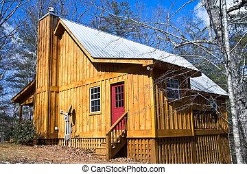 maison bois, toit étain