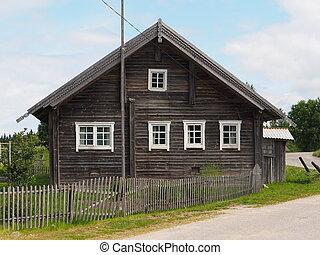 maison bois, vieux, village