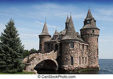 maison, boldt, château, puissance, horloge