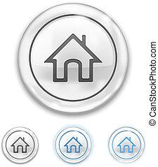 maison, bouton, icône