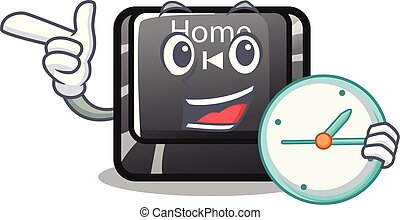 maison, bouton, isolé, dessin animé, horloge