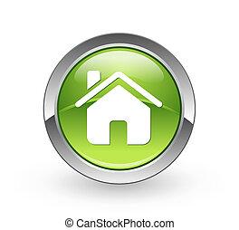 maison, bouton, -, sphère verte
