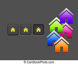 maison, bouton, vecteur