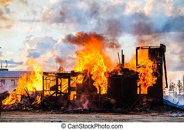 maison, brûlé
