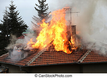 maison, brûlé, toit