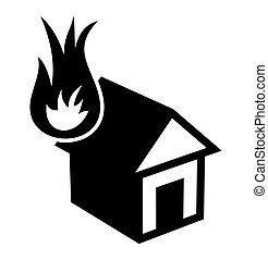 maison, brûler, icône