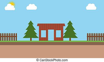 maison, brique, construction