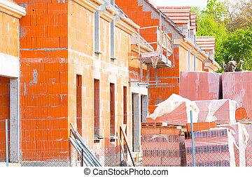 maison, brique, construction, sous