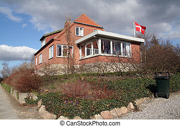 maison, brique, danemark